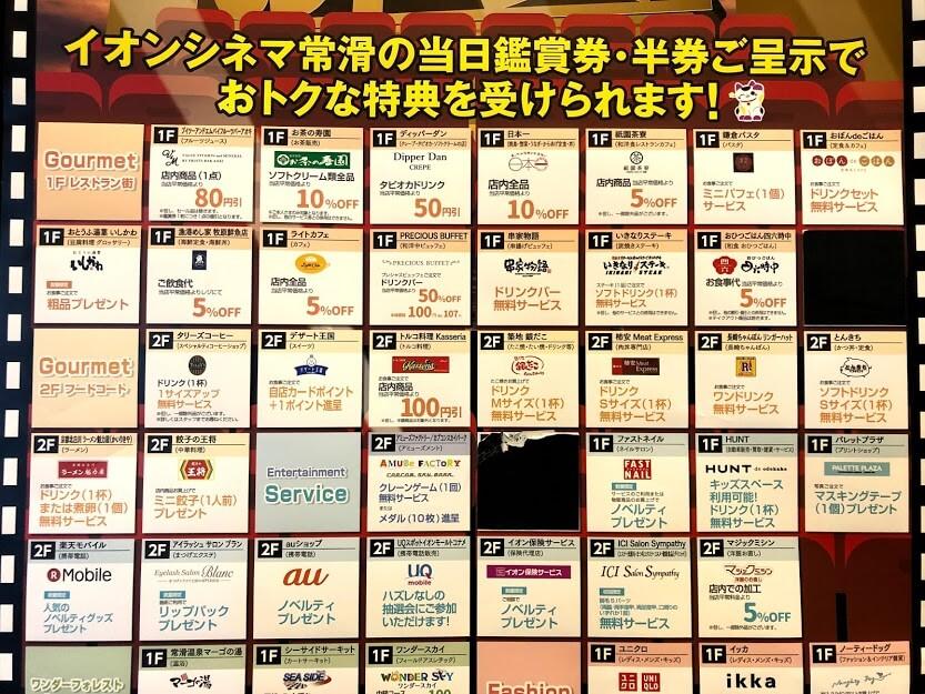 【保存版】イオンシネマ常滑映画の半券で受けられるサービス一覧